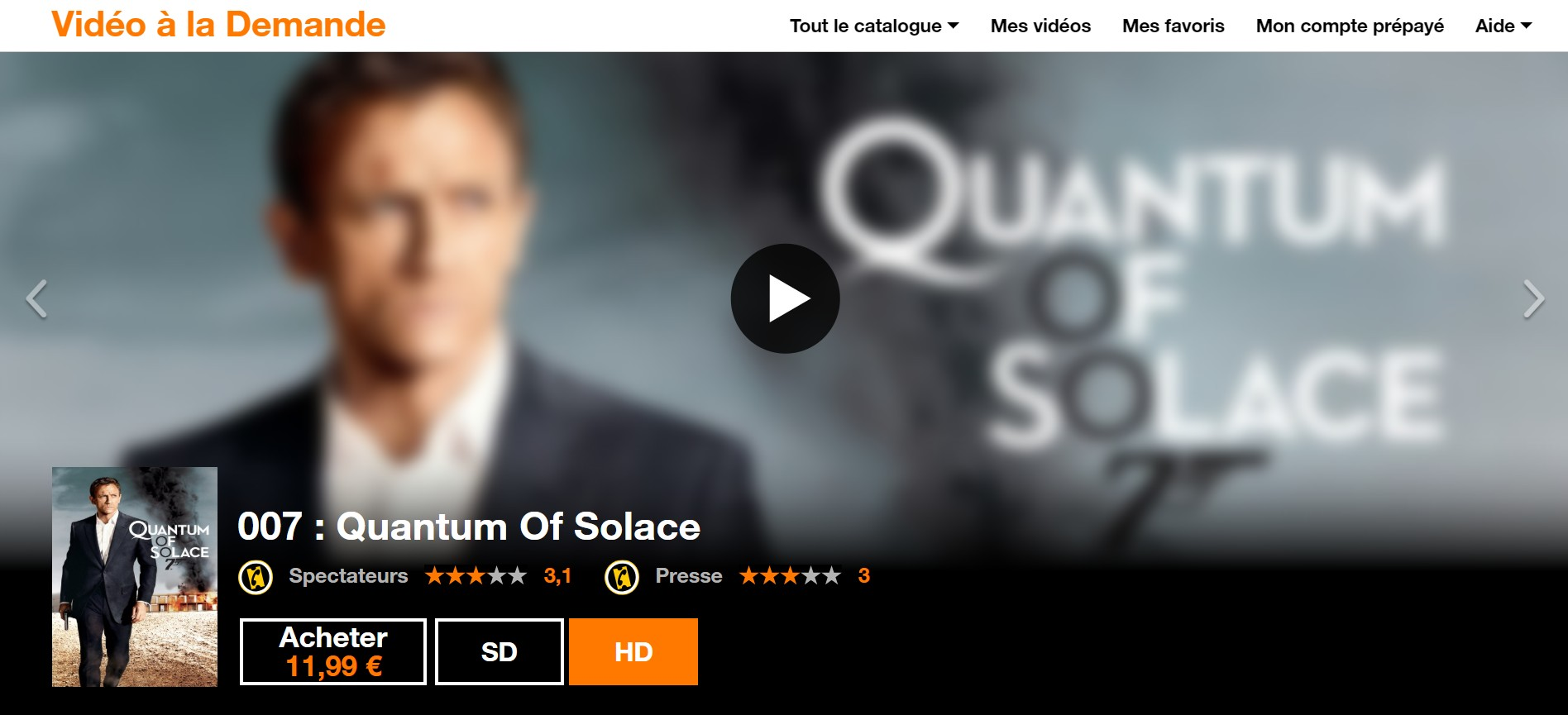 Quantum of Solace streaming Orange